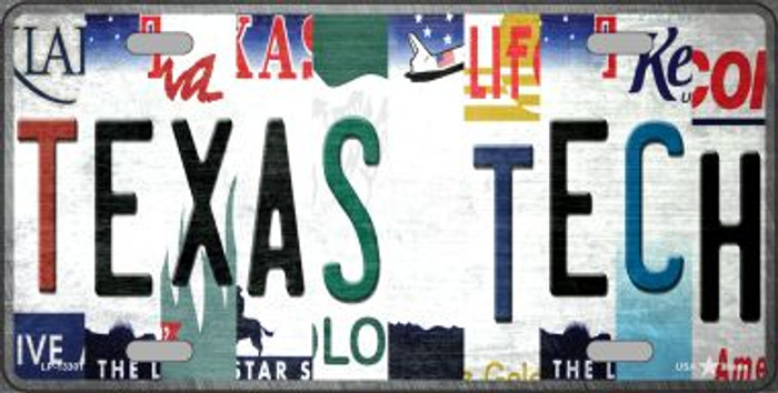 Texas Tech Strip Art Novelty Metal License Plate Tag LP-13301