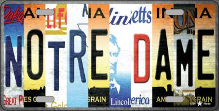 Notre Dame Strip Art Novelty Metal License Plate Tag LP-13303