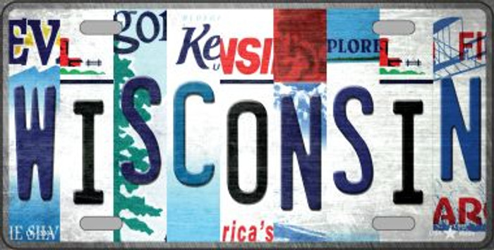 Wisconsin Strip Art Novelty Metal License Plate Tag LP-13304