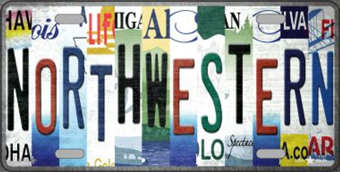 Northwestern Strip Art Novelty Metal License Plate Tag LP-13308