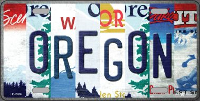 Oregon Strip Art Novelty Metal License Plate Tag LP-13310