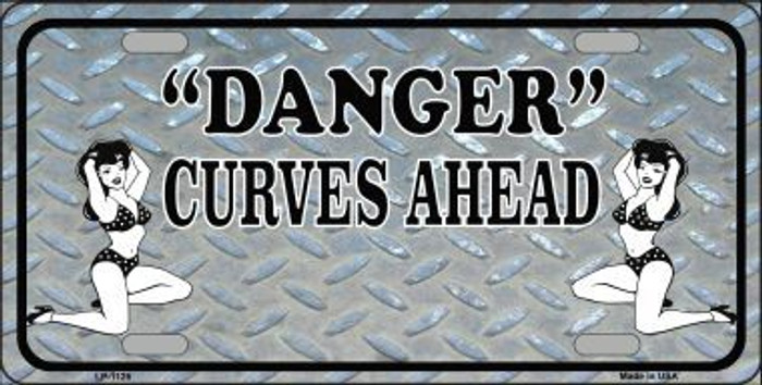 Danger Curves Ahead Novelty Metal License Plate