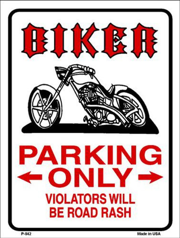 Biker Parking Only Metal Novelty Parking Sign P-842