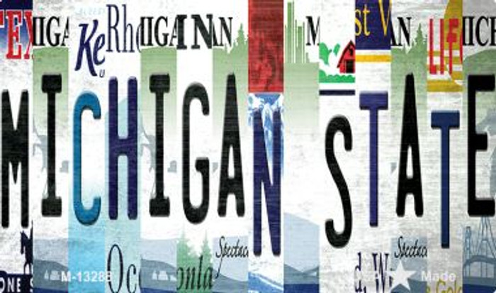 Michigan State Strip Art Novelty Metal Magnet M-13288