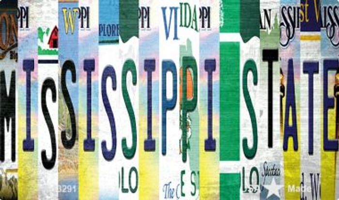 Mississippi State Strip Art Novelty Metal Magnet M-13291