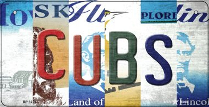 Cubs Strip Art Novelty Metal Bicycle Plate BP-13187