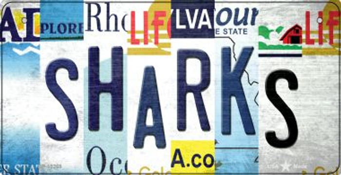 Sharks Strip Art Novelty Metal Bicycle Plate BP-13268