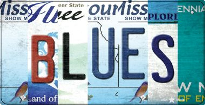 Blues Strip Art Novelty Metal Bicycle Plate BP-13269