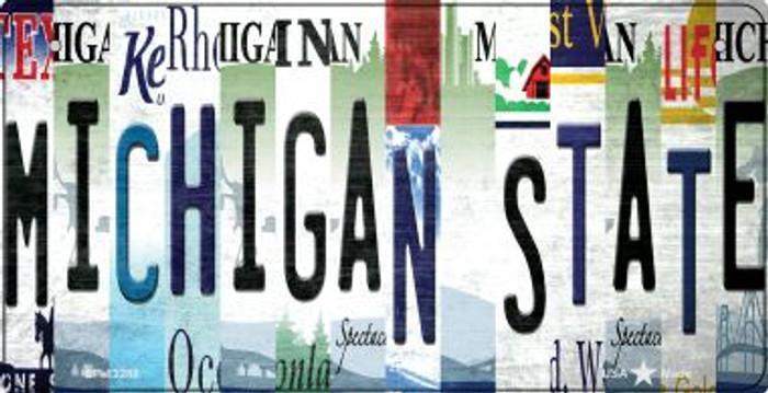 Michigan State Strip Art Novelty Metal Bicycle Plate BP-13288