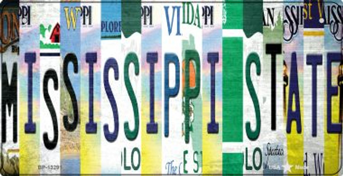 Mississippi State Strip Art Novelty Metal Bicycle Plate BP-13291
