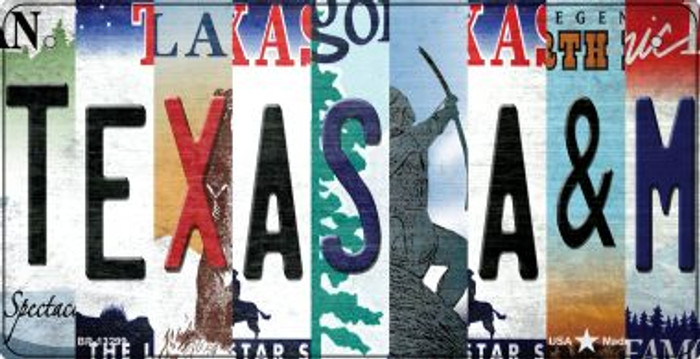 Texas A&M Strip Art Novelty Metal Bicycle Plate BP-13299