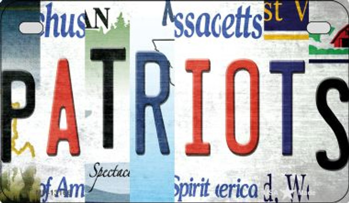 Patriots Strip Art Novelty Metal Motorcycle Plate MP-13166