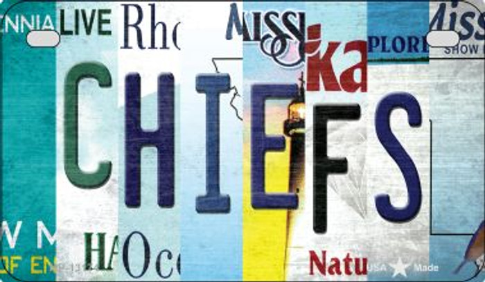 Chiefs Strip Art Novelty Metal Motorcycle Plate MP-13174