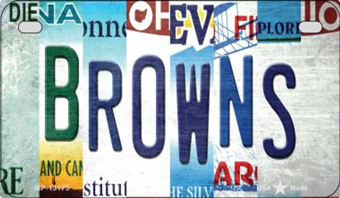 Browns Strip Art Novelty Metal Motorcycle Plate MP-13175