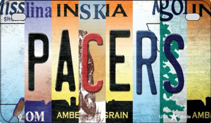 Pacers Strip Art Novelty Metal Motorcycle Plate MP-13222
