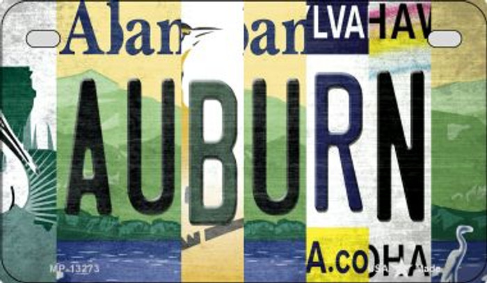 Auburn Strip Art Novelty Metal Motorcycle Plate MP-13273