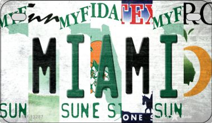 Miami Strip Art Novelty Metal Motorcycle Plate MP-13287