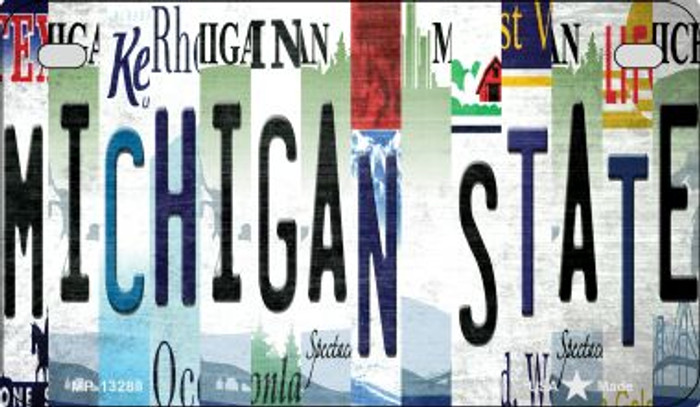 Michigan State Strip Art Novelty Metal Motorcycle Plate MP-13288