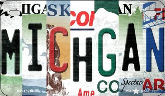 Michigan Strip Art Novelty Metal Motorcycle Plate MP-13289