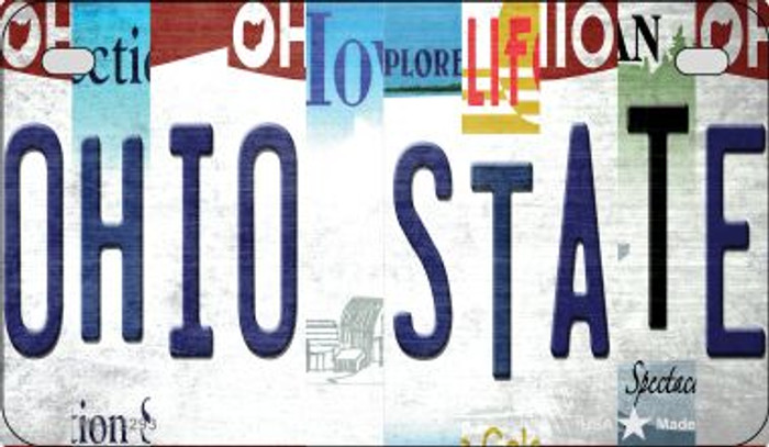 Ohio State Strip Art Novelty Metal Motorcycle Plate MP-13293