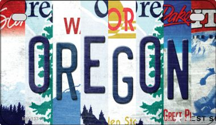 Oregon Strip Art Novelty Metal Motorcycle Plate MP-13310