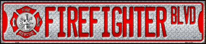 Fire Fighter Blvd Metal Novelty Street Sign