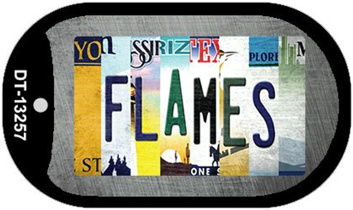 Flames Strip Art Novelty Metal Dog Tag Necklace DT-13257