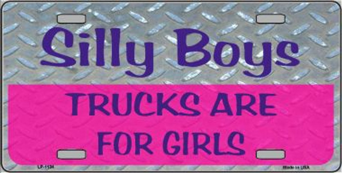 Black License Frame Silly Boys Guns Are For Girls Hot Pink