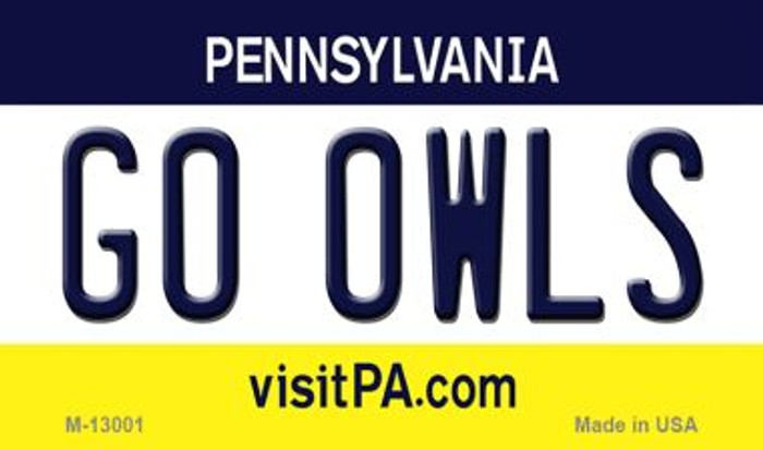 Go Owls Novelty Metal Magnet M-13001