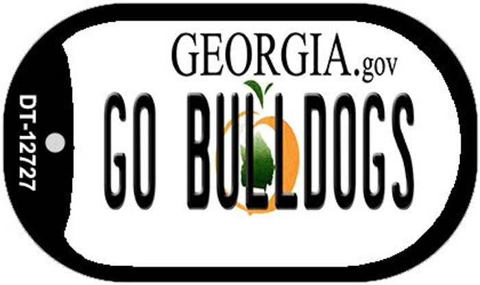 Go Bulldogs Novelty Metal Dog Tag Necklace DT-12727