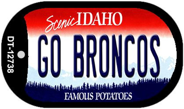 Go Broncos Novelty Metal Dog Tag Necklace DT-12738