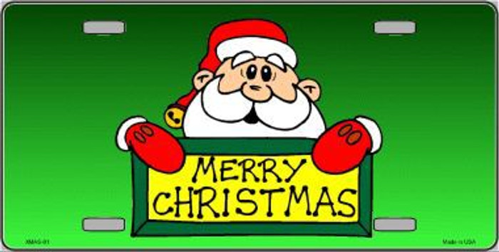 Merry Christmas Santa Metal Novelty License Plate XMAS-01
