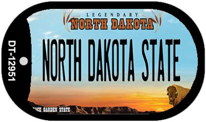 North Dakota State Novelty Metal Dog Tag Necklace DT-12951