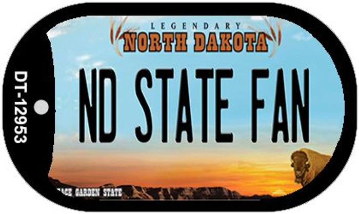North Dakota State Fan Novelty Metal Dog Tag Necklace DT-12953