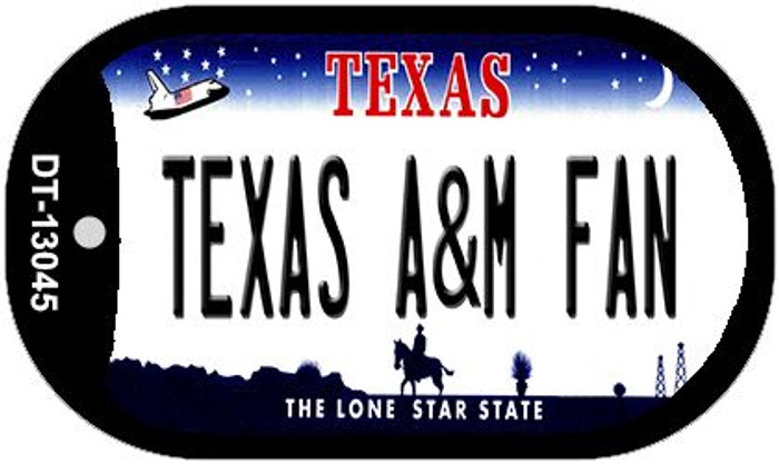 Texas A&M Fan Novelty Metal Dog Tag Necklace DT-13045