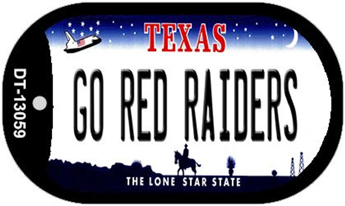 Go Red Raiders Novelty Metal Dog Tag Necklace DT-13059