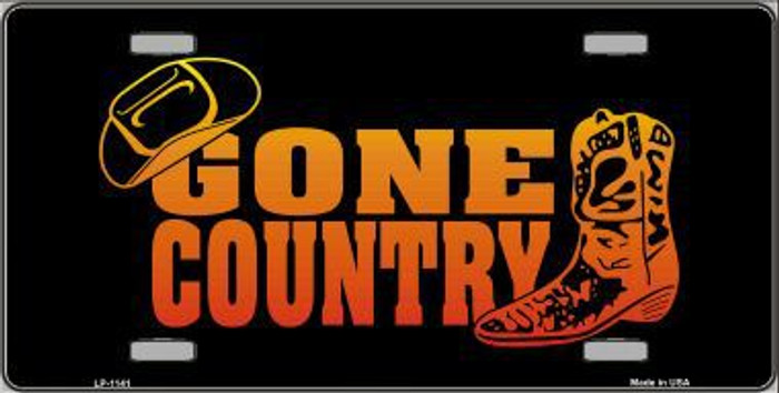 Gone Country Novelty Metal License Plate