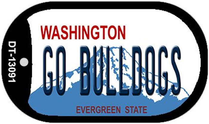 Go Bulldogs Novelty Metal Dog Tag Necklace DT-13091