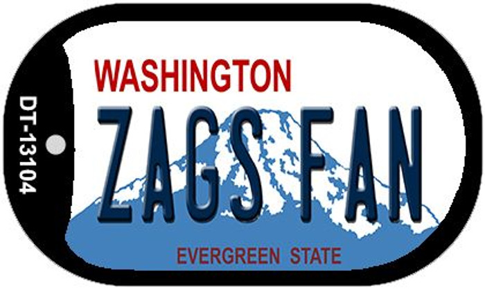 Zags Fan Novelty Metal Dog Tag Necklace DT-13104