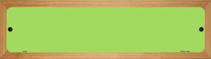 Lime Green Solid Blank Novelty Wood Mounted Metal Small Street Sign WB-K-032