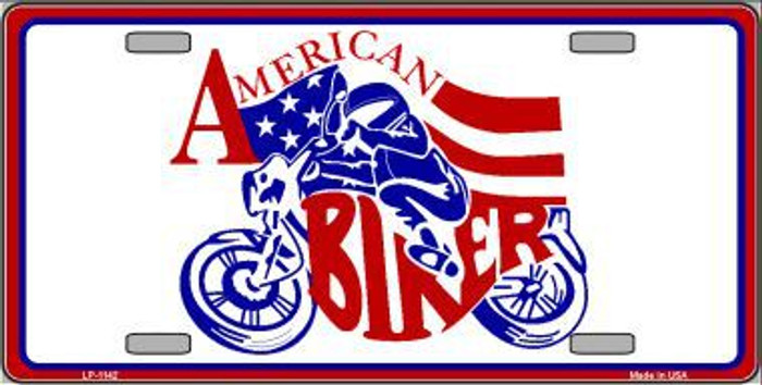 American Biker Novelty Metal License Plate