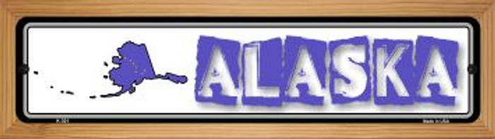 Alaska State Outline Novelty Wood Mounted Metal Small Street Sign WB-K-301