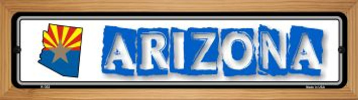 Arizona State Outline Novelty Wood Mounted Metal Small Street Sign WB-K-302