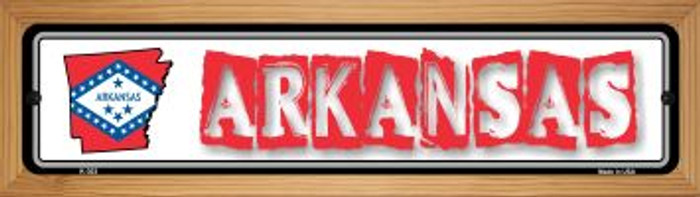 Arkansas State Outline Novelty Wood Mounted Metal Small Street Sign WB-K-303