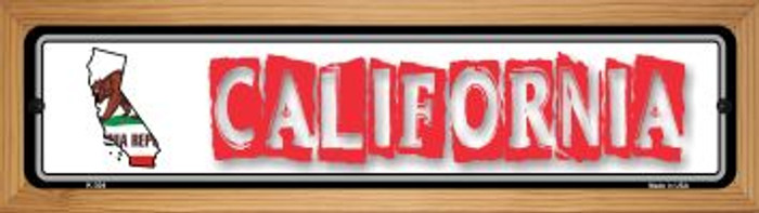 California State Outline Novelty Wood Mounted Metal Small Street Sign WB-K-304