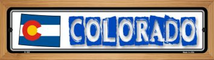 Colorado State Outline Novelty Wood Mounted Metal Small Street Sign WB-K-305