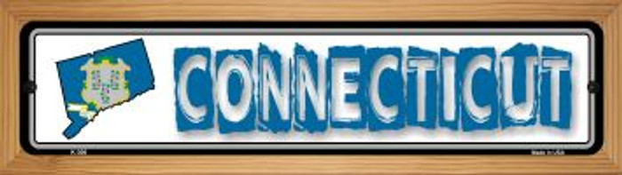 Connecticut State Outline Novelty Wood Mounted Metal Small Street Sign WB-K-306