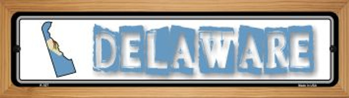 Delaware State Outline Novelty Wood Mounted Metal Small Street Sign WB-K-307