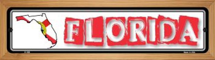 Florida State Outline Novelty Wood Mounted Metal Small Street Sign WB-K-308