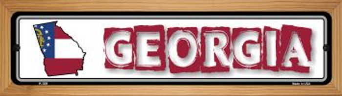Georgia State Outline Novelty Wood Mounted Metal Small Street Sign WB-K-309